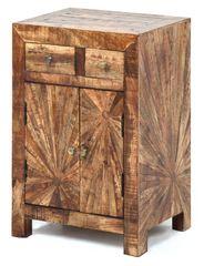 Sunburst Nightstand Table Wooden Modern