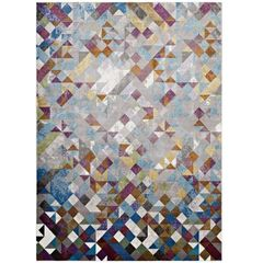 Multicolored Mosaic Area Rug 5 x 8