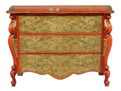 Red Cabinet Accent Table with Three Drawers
