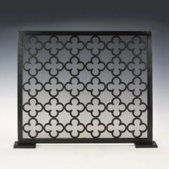 Iron Fireplace Screen with Gothic Moroccan Clover Quatrefoil Motif Ships Free