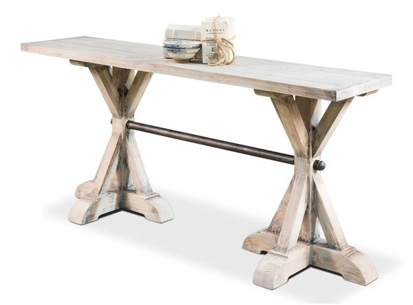 Trestle Console Table in Rustic Pine