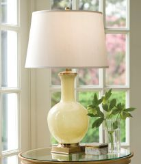 Yellow Glass Lamp Hand-blown Fabric Shade