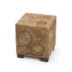 Square Stool with Woven Raffia Detail