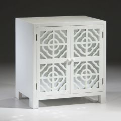 Lacquered Cabinet White w/ Mirrored Panels