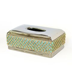 Tissue Box Cover Aquamarine Crystal Rhinestone