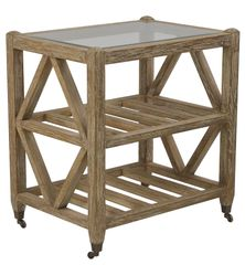 Caster Rack w/ Slatted Shelves Oak & Glass