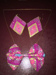 Bow Tie Necklace with Matching Earrings