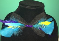 Purple & Blue Feather Bow Tie