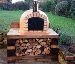 Lisboa 90 cm x 90 cm Black Steel Door Woodfired Pizza Oven (Free Peel)