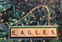 Philadelphia Eagles Scrabble Tiles Ornament Handmade Holiday Christmas Wood