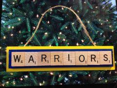 Golden State Warriors Scrabble Tiles Ornament Handmade Holiday Christmas Wood