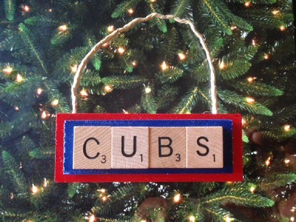 chicago cubs scrabble tiles ornament handmade holiday christmas wood - Chicago Christmas Ornament