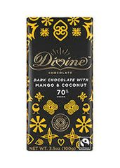 dark chocolate with coconut and mango