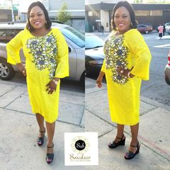 EMBELLISHED STONED ANKARA DRESS-47