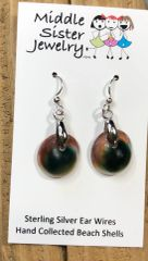 Cat's Eye Green Operculum Beach Shell Earrings - CESH15