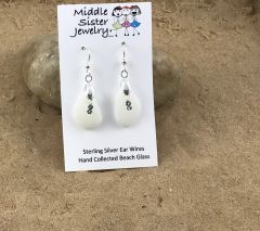 Milk Glass Drop Beach Glass Earrings - CEGD9