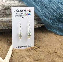 Pale Green Pearl Earrings - EPC3