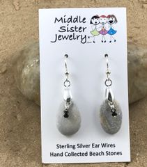 Light Gray Beach Stone Crystal Earrings - CEST8