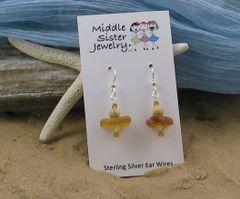 Amber Italian Beach Glass Earrings - CEGS4
