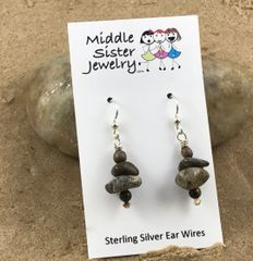 Brown Stacked Beach Stone Earrings - CEST1