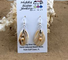 Tan Swirl Clam Shell Earrings - CESH1