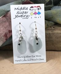 Gray Beach Glass Earrings - CEGD12