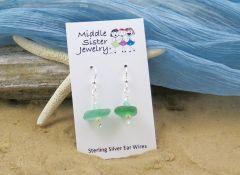 Green Italian Beach Glass Earrings - CEGS3