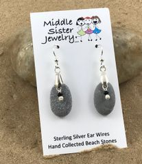 Gray Stone Pearl Earrings - CEST7
