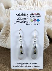 Pale Gray Beach Stone Earrings - CEST12