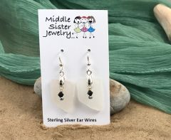 Clear Drop Beach Glass Earrings (more options) - CEGD4
