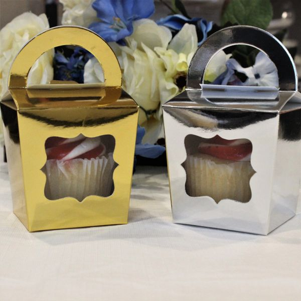 Gold Or Silver Cupcake Box 3x3x3 Pack Of 25 Us Wedding Favors