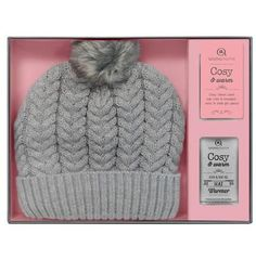 Aroma Home Heated Knitted Beanie Gift Set ~ Cream