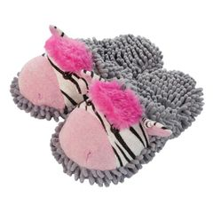 Aroma Home Fuzzy Friends Slippers ~ Zebra