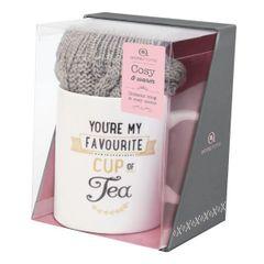 Aroma Home Mug & Sock Gift Set ~ Grey (Tea)