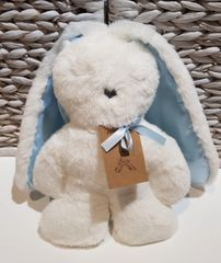 Flat Bunny - White with Blue Ears