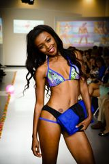 G2040 - Bikini - Peacock Blue Top Panther Black Strappy Bottom