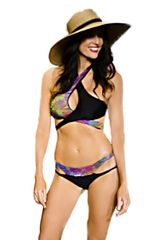 G2033 - Double Cross and Strappy Bottom - Tropic Jungle and Panther Black