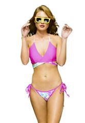 G2030 - Bikini - Cross Front Top - California Fuchsia and Tropical print