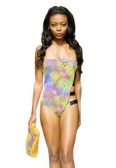 G2032 - One Piece Strappy Side - Tropic Jungle and Panther Black