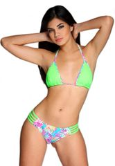 G2021 - Bikini - Key Lime Green top and Tropical strappy bottom
