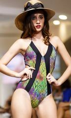 G2025 - One piece - V Neckline Tropic Jungle and Panther Black