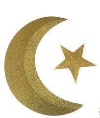 3D Glitter Gold Crescent Moon & Star