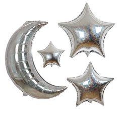 Silver Crescent Moon & Stars Balloons