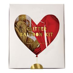 Red & Gold Glitter Heart Balloon Kit
