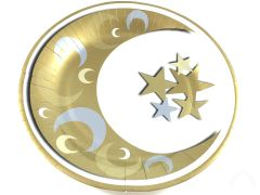 Gold & Silver Crescent Dinner Paper Plates