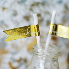 """""""Happy Happy"""" Gold Foil Flag Stickers"""