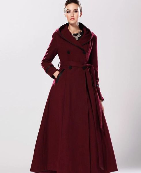 20b4c6bcbc Red Riding Hood Red Trench Coats for Women Ultra Long Trench Coats Wool  Hooded Overcoats.
