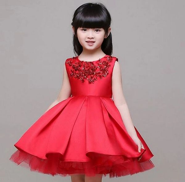red wedding dress red christmas dress red toddler dress with sequined embellishment free silver tiara - Girls Red Christmas Dress