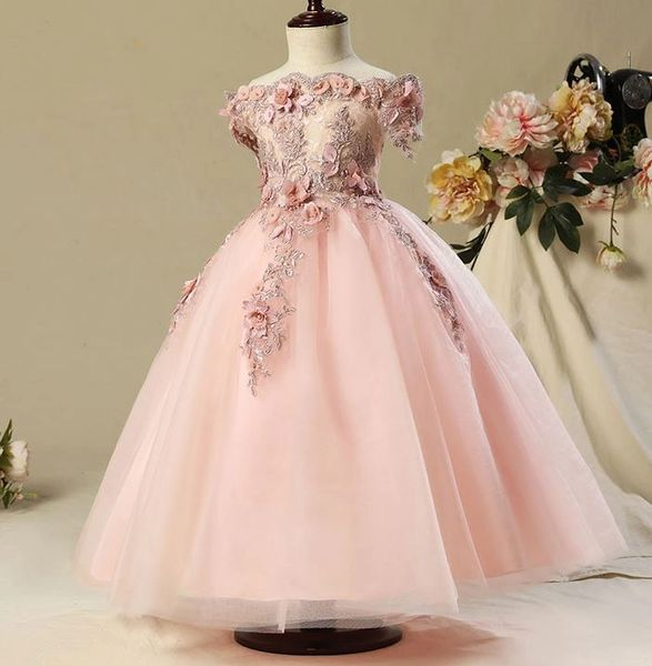Embroidery Laced Ballgown Dress For Flower Girls With Tiara 2t
