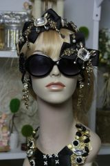 909 Fall 2016 Black Crystal Bow Baroque Embellished Fancy Shades Sunglasses Eye Wear